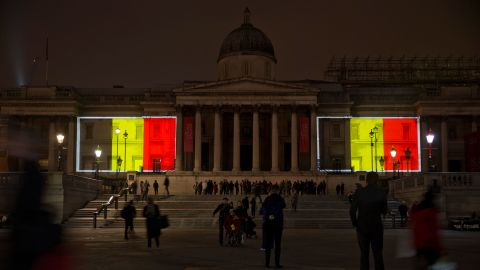 Belgian national flags are projected onto the National Gallery in London's Trafalgar Square on March 23.
