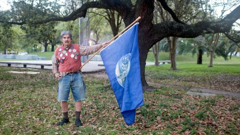 """Bernard """"Ben"""" Gordon, 66, of New Orleans was among the activists who protested the auction. Environmentalists are calling for the federal government to keep fossil fuel resources beneath the ground. Mining and burning them contributes to climate change."""