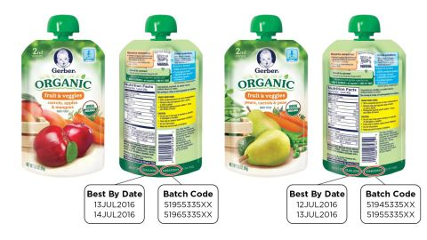 """Gerber <a href=""""http://www.cnn.com/2016/03/24/health/gerber-baby-food-recall/index.html"""" target=""""_blank"""">voluntarily recalled </a>two organic baby foods because a packaging defect may make them susceptible to spoilage during transport and handling, the U.S. Food and Drug Administration and the company said on March 24."""