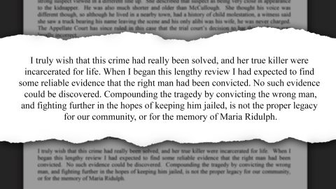 From the press release of Illinois state's attorney Richard Schmack, who spent six months reviewing the case.
