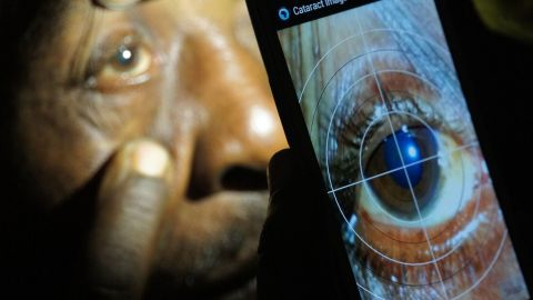 """Smartphone app Portable Eye Examination Kit (Peek) has been used in Kenya, Botswana and India to test patients who would otherwise find getting proper eye care difficult.<br /><br /><a href=""""https://edition.cnn.com/2016/03/31/africa/peek-eye-app/index.html"""" target=""""_blank"""">Read more</a> about Peek."""