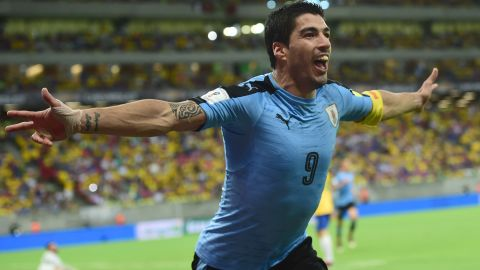 Uruguay's Luis Suarez celebrates after scoring the equalizer against Brazil in the 2-2 draw in Recife.