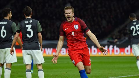 Eric Dier of England celebrates scoring his team's third and wining goal in the international friendly against Germany.