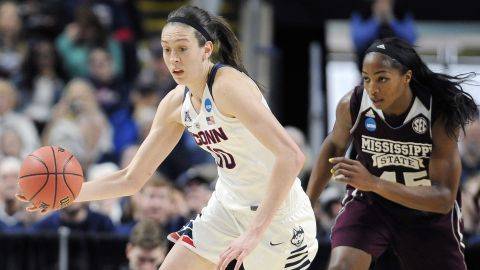 Breanna Stewart, left, had 22 points, 14 rebounds and five blocked shots in No. 1 Connecticut's rout of No. 5 Mississippi State in the regional semifinals of the women's NCAA Tournament in Bridgeport, Connecticut.
