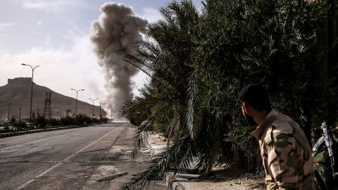 Syrian military engineers on Sunday, March 27, detonate mines laid by ISIS militants during an operation to liberate the ancient city of Palmyra, Syria, a UNESCO world heritage site.