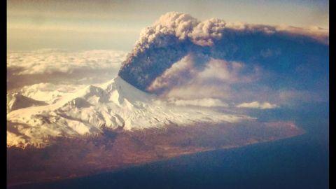 The Pavlof volcano erupts on Alaska's remote Aleutian Island archipelago in March 2016.