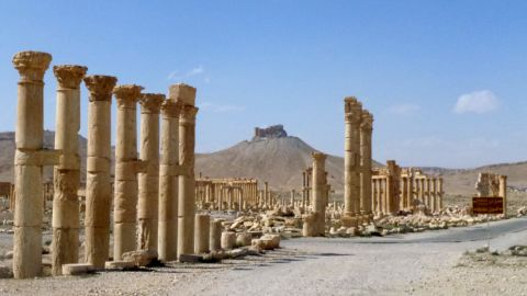 """A general view taken on March 27, 2016 shows part of the ancient city of Palmyra, after government troops recaptured the UNESCO world heritage site from the Islamic State (IS) group.                President Bashar al-Assad hailed the victory as an """"important achievement"""" as his Russian counterpart and key backer Vladimir Putin congratulated Damascus for retaking the UNESCO world heritage site. / AFP / Maher AL MOUNES        (Photo credit should read MAHER AL MOUNES/AFP/Getty Images)"""
