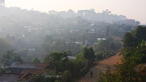 Local homesteads in Bonga blanketed by low-lying cloud early in the morning.