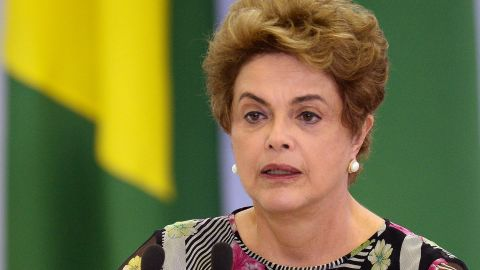 Brazilian President Dilma Rousseff delivers a speech during the launching ceremony of the National Plan against Aedes aegypti and microcephaly in Brasília in March 23, 2016. The aedes aegypti mosquito is the vector of Zica virus. AFP PHOTO/ANDRESSA ANHOLETE / AFP / Andressa Anholete        (Photo credit should read ANDRESSA ANHOLETE/AFP/Getty Images)