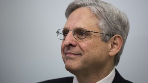 Supreme Court nominee Merrick Garland looks on during a photo opportunity before a private meeting with Sen. Kirsten Gillibrand (D-NY) in her office on Capitol Hill, March 30, 2016 in Washington, DC.