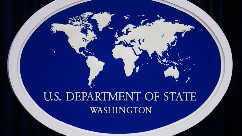 The US Department of State logo is displayed inside the media briefing room 01 November 2007 at the US Department of State in Washington, DC.
