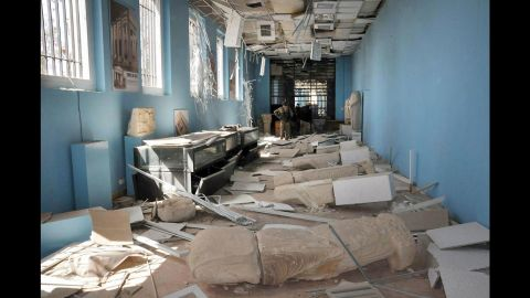 Destroyed statues are seen inside the damaged Palmyra Museum on March 27.