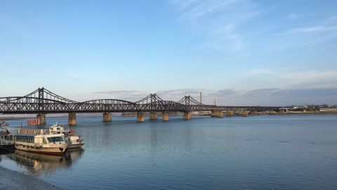 The Sino-Korean friendship bridge in Dandong, China.