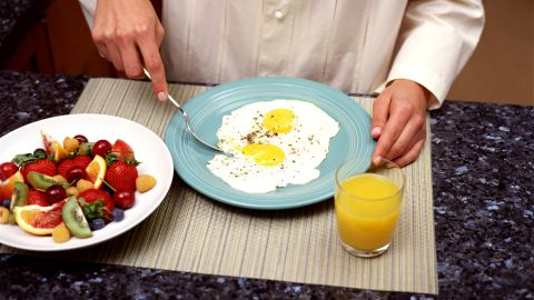 Person eating breakfast