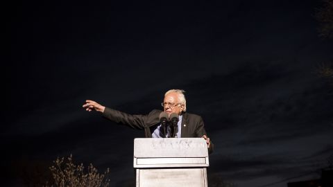 Democratic Presidential Candidate Senator Bernie Sanders speaks at a rally at St. Mary's Park in the Bronx borough March 31, 2016 in New York City.