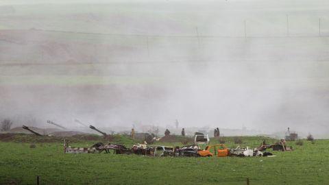 Armenian artillery units are seen in Martakert, Nagorno-Karabakh, on Sunday.