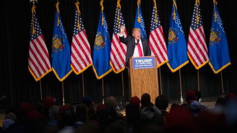 Republican presidential candidate Donald Trump speaks to guests during a campaign stop at Memorial High School on April 2, 2016 in Eau Claire, Wisconsin. Wisconsin voters go to the polls for the state's primary on April 5.
