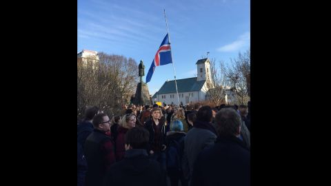 The protest came a day after reports accused Prime Minister Sigmundur David Gunnlaugsson, who has led the country since 2013, of having ties to an offshore company that were not properly disclosed. Gunnlaugsson has denied the accusation.