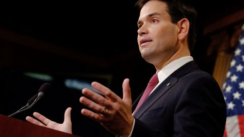 Sen. Marco Rubio (R-FL) reacts to U.S. President Barack Obama's announcement about revising policies on U.S.-Cuba relations on December 17, 2014 in Washington, DC.