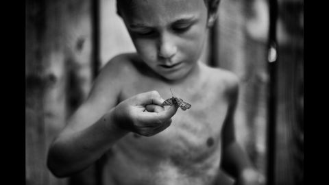 """Tharin, the son of photographer Tytia Habing, inspects a moth they found by the pool. Habing has been photographing Tharin as he explores their farm in rural Illinois. """"I hope people will look at (the photos) and remember that kids need to be outside,"""" she said."""