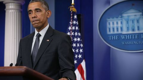 U.S. President Barack Obama pauses as he delivers a statement on the economy at the James Brady Press Briefing of the White House April 5, 2016 in Washington, DC.
