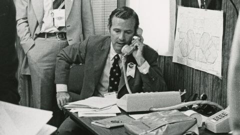 James Baker wrangles delegates at the 1976 Republican National Convention in Kansas City, Missouri.