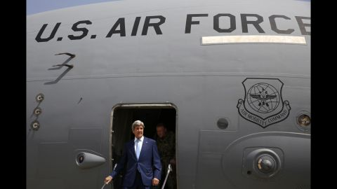 """U.S. Secretary of State John Kerry arrives at Baghdad International Airport in Baghdad, Iraq, on Friday, April 8. The <a href=""""http://www.cnn.com/2016/04/08/politics/john-kerry-iraq-abadi-isis-fight/"""" target=""""_blank"""">unannounced visit</a> is part of an effort to shore up an embattled prime minister fighting to stay in office."""