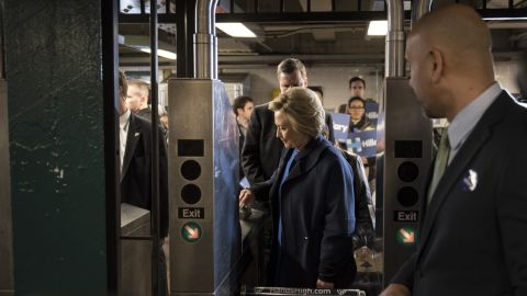 Democratic presidential candidate Hillary Clinton swipes a MetroCard to ride the subway in New York on Thursday, April 7.
