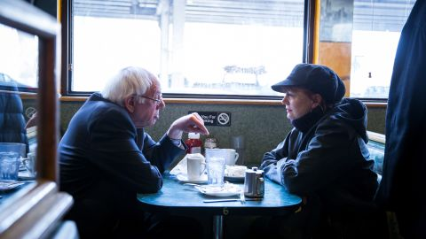 """Democratic presidential candidate Sen. Bernie Sanders and actress Susan Sarandon visit a diner on Friday, April 8, in the Brooklyn borough of New York City. The New York Democratic primary is scheduled for April 19. Sanders won the <a href=""""http://www.cnn.com/2016/04/09/politics/wyoming-democratic-caucus-results/index.html"""" target=""""_blank"""">Wyoming Democratic caucuses</a> on Saturday, April 9 -- his eighth victory in the last nine contests."""