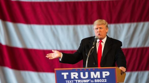 RORepublican presidential candidate Donald Trump speaks in front of a capacity crowd at a rally for his campaign on April 10, 2016 in Rochester, New York. The New York Democratic primary is scheduled for April 19th.