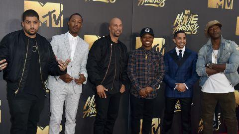 From left: O'Shea Jackson Jr., Corey Hawkins, Common, Jason Mitchell, Neil Brown Jr., Aldis Hodge