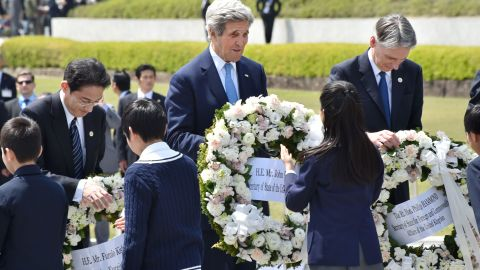 U.S. Secretary of State John Kerry, Japanese Foreign Minister Fumio Kishida and British Foreign Secretary Philip Hammond laid wreath sat the Memorial Cenotaph for the 1945 atomic bombing victims in the Peace Memorial Park in Hiroshima, Japan on April 11, 2016.
