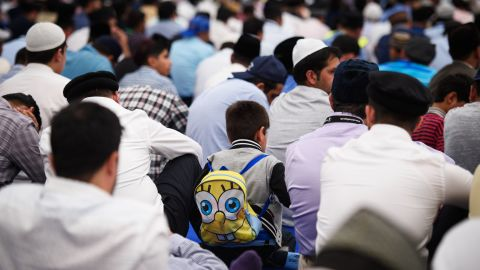 Members of Britain's 2.7 million strong Muslim community gather at an event in Hampshire last year.