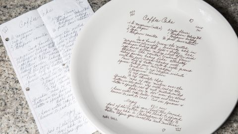 """Allison Gilbert's grandmother's """"famous"""" coffee cake recipe is permanently transferred onto a custom-made serving plate."""