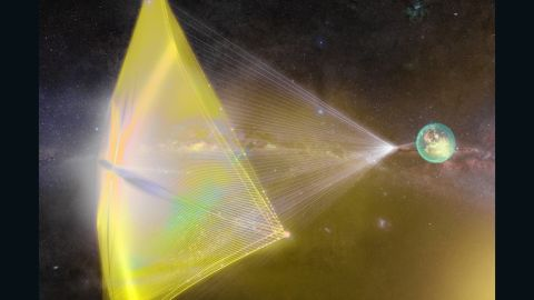 """This illustration shows light beams from Earth pushing a tiny spacecraft's sail. The proposed Breakthrough Starshot project would send hundreds of """"nanocraft"""" space probes 4.37 light years away -- at speeds of up to 100 million miles an hour -- to to explore Alpha Centauri, our nearest star system. The ambitious project is many years away from becoming reality."""