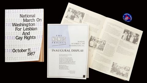 """In 1987, the inaugural display of the Names Project, otherwise known as the <a href=""""https://www.youtube.com/watch?v=KB2W6m2mRdE"""" target=""""_blank"""" target=""""_blank"""">AIDS Memorial Quilt</a>, took up two city blocks and included 1,920 panels memorializing more than 2,000 people who lost their lives to AIDS. It went on display during the 1987 National March on Washington for Lesbian and Gay Rights, which was the largest gathering of its kind. More than 200,000 people marched, <a href=""""http://www.onearchives.org/wp-content/uploads/2015/02/Our-Demands-March-on-Washington-for-Lesbian-and-Gay-Rights-Oct-11-1987.pdf"""" target=""""_blank"""" target=""""_blank"""">demanding </a>equal rights, legal recognition of same-sex relationships, a legal end to discrimination, an increase in funding to fight AIDS and an end to discrimination against people living with HIV and AIDS. Groups from around the country worked for 15 months and held the final organizational meeting in Atlanta. Many Atlanta leaders who helped <a href=""""http://www.glbtqarchive.com/ssh/marches_washington_S.pdf"""" target=""""_blank"""" target=""""_blank"""">with that march</a> went on to run nonprofits, arts organizations, media groups and to run for elected office. The <a href=""""http://www.aidsquilt.org/"""" target=""""_blank"""" target=""""_blank"""">Names Project</a> Foundation is now based in Atlanta."""
