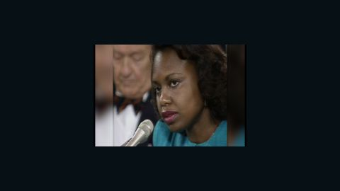 Anita Hill speaking at a confirmation hearing for Clarence Thomas on October 11, 1991.