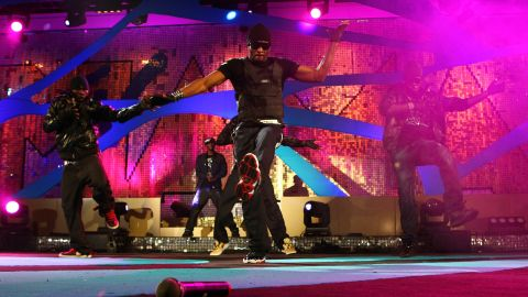 Nigeria-based twins Paul and Peter Okoye, who form musical group P-Square, perform at the 2008 MTV Africa Music Awards in Abuja, Nigeria.