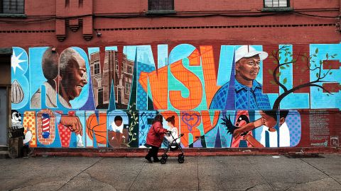"""NEW YORK, NY - JUNE 02: A wall is painted with the word """"Brownsville"""" in the crime ridden Brownsville section of Brooklyn on June 2, 2015 in New York City. Following news of a more than 20-percent increase in murders and a 9-percent increase in shootings this year, the NYPD is starting its """"Summer All Out"""" program a month early. The anti-crime program trains and puts 330 administrative officers on the streets to help deter shootings and gun crimes.  (Photo by Spencer Platt/Getty Images)"""