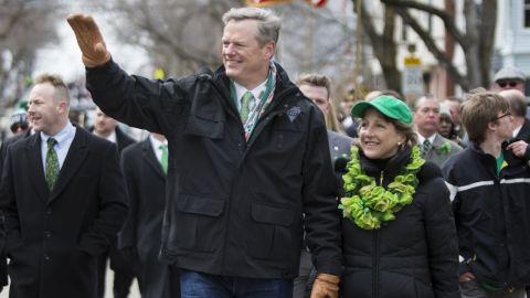 Gov. Charlie Baker and wife Lauren Baker marched in the annual South Boston St. Patrick's Parade in 2016.