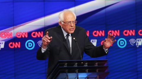 Democratic Presidential candidate Sen. Bernie Sanders (D-VT) debates Hillary Clinton during the CNN Democratic Presidential Primary Debate at the Duggal Greenhouse in the Brooklyn Navy Yard on April 14, 2016 in New York City.