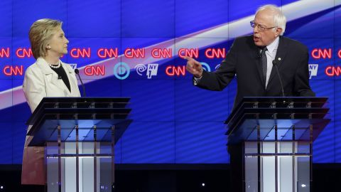 Democratic presidential candidates Sen. Bernie Sanders and Hillary Clinton face off during the CNN Democratic Presidential Primary Debate at the Brooklyn Navy Yard on Thursday, April 14, 2016 in New York.