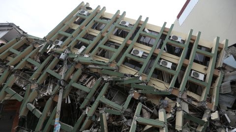 A building has collapsed in Portoviejo on April 17.