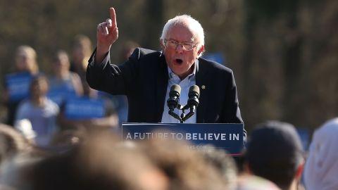 Democratic Presidential candidate Bernie Sanders speaks to throngs of supporters in Prospect Park to hear Democratic Presidential candidate Bernie Sanders speak on April 17, 2016 In the Brooklyn borough of New York City.