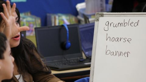 Ashley Aucar helps her third-graders at P.S. 94 expand their vocabulary.