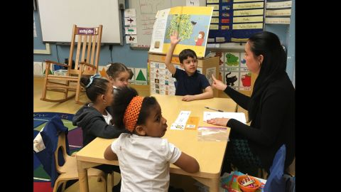 Kindergarten teacher Amy Colt does a guided reading lesson at P.S. 94.