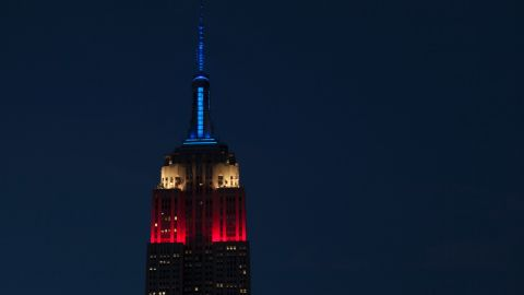 The Empire State Building is lit in red, white, and blue lights marking the New York Primary Tuesday.