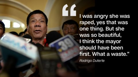 Duterte made international headlines in April 2016 with his inflammatory comments on the 1989 rape and murder of an Australian missionary that took place in Davao City.