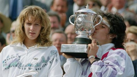 Spain's Arantxa Sanchez Vicario of Spain beat Graf (left) 7-6, 3-6, 7-5 in the French Open final when she was 17.