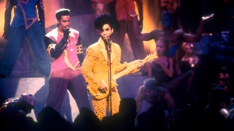 Prince performs at the MTV Video Music Awards in Los Angeles in 1991.